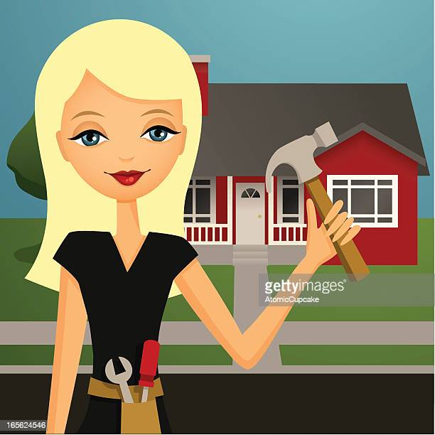ms fix it: home improvement girl - tool belt stock illustrations, clip art, cartoons, & icons