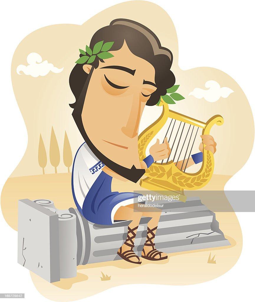 Músico griego tocando la lira : stock illustration