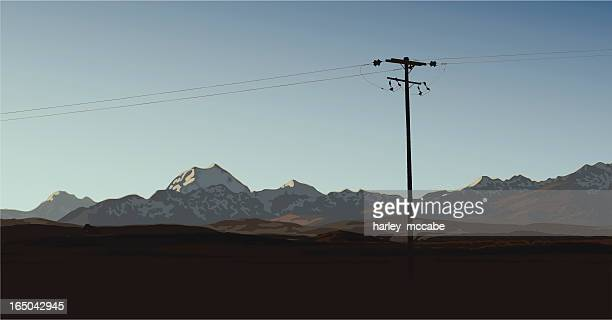 mt cook at dusk - telephone line stock illustrations, clip art, cartoons, & icons
