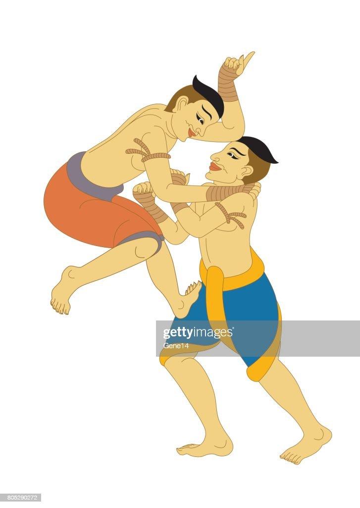 MuayThai, LaiThai Thai Boxing, illustration Thailand