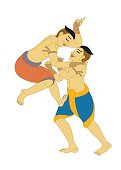 MuayThai, LaiThai Thai Boxing, illustration Thailand