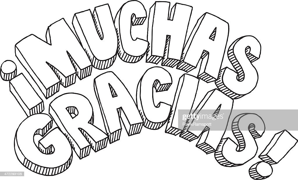 Muchas Gracias Text Drawing : Stock Illustration