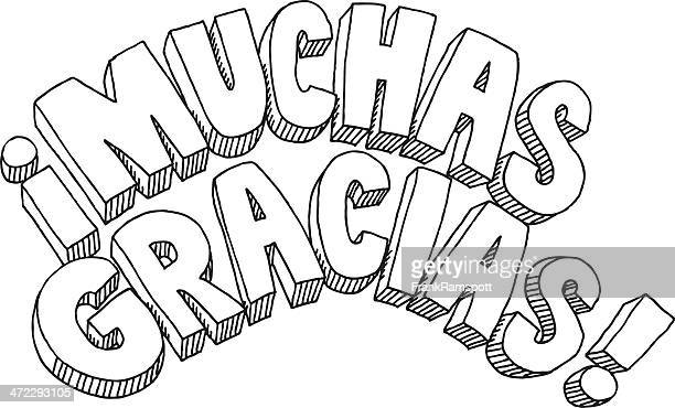 muchas gracias text drawing - spanish culture stock illustrations