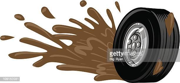 mud reifen - schlamm stock-grafiken, -clipart, -cartoons und -symbole