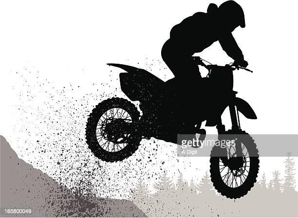 ilustraciones, imágenes clip art, dibujos animados e iconos de stock de mud'nbike - motocross