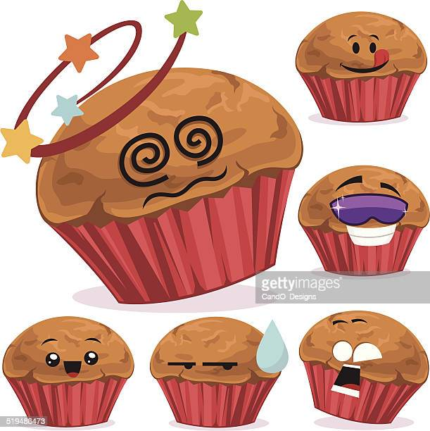 muffin cartoon set a - muffin stock illustrations, clip art, cartoons, & icons