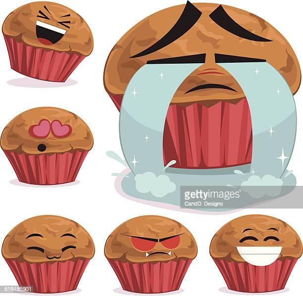 muffin cartoon set b - anthropomorphic foods stock illustrations, clip art, cartoons, & icons