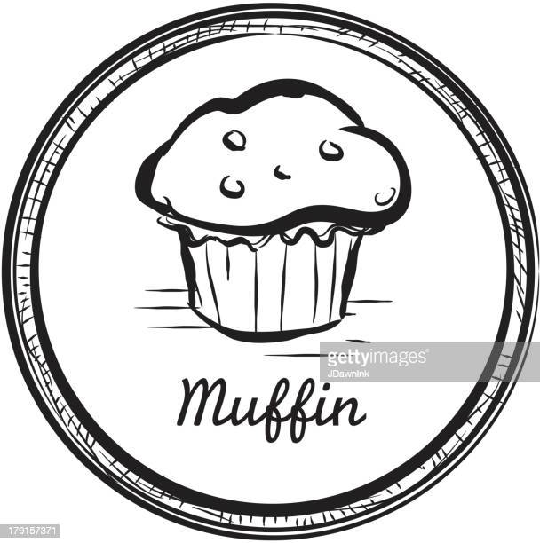 muffin drawing in a circular frame - muffin stock illustrations, clip art, cartoons, & icons