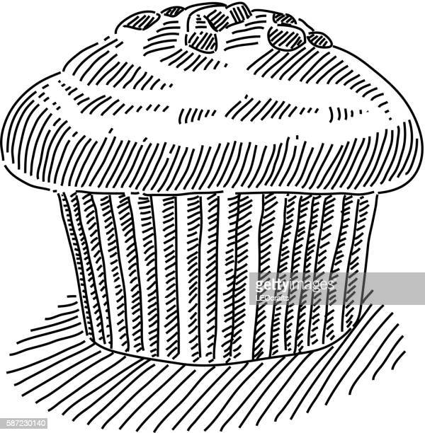 muffin drawing - muffin stock illustrations, clip art, cartoons, & icons