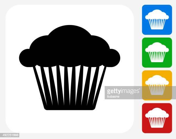 muffin icon flat graphic design - bran stock illustrations, clip art, cartoons, & icons