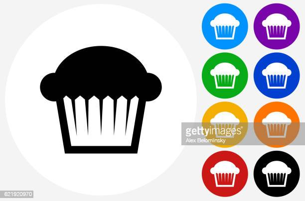 muffin icon on flat color circle buttons - muffin stock illustrations, clip art, cartoons, & icons