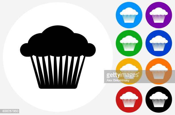Muffin Icon on Flat Color Circle Buttons