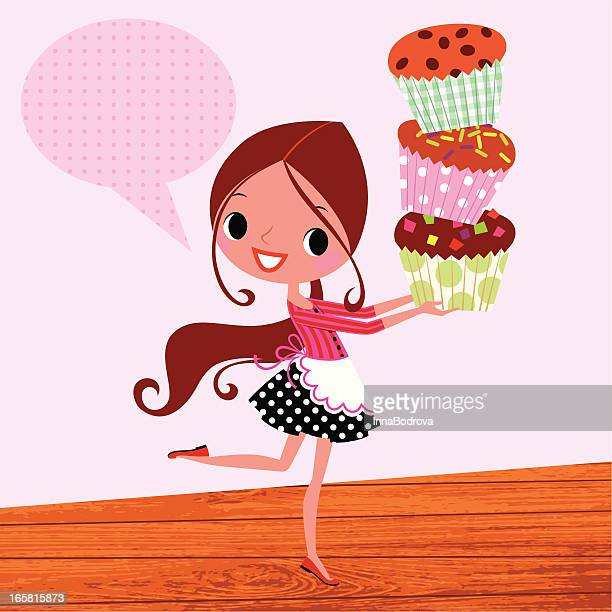 muffins and girl. - muffin stock illustrations, clip art, cartoons, & icons