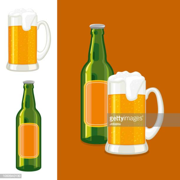 ilustrações de stock, clip art, desenhos animados e ícones de mug and bottle of beer - bebida alcoólica