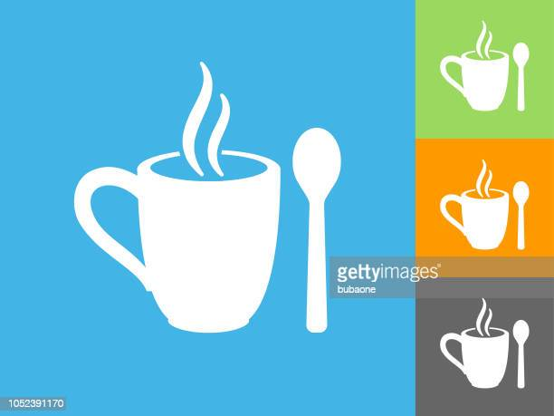mug and spoon flat icon on blue background - hot drink stock illustrations, clip art, cartoons, & icons