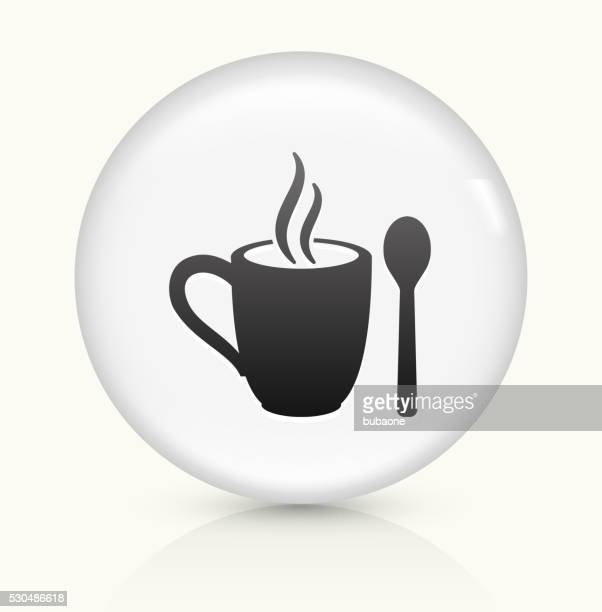 Mug and Spoon icon on white round vector button
