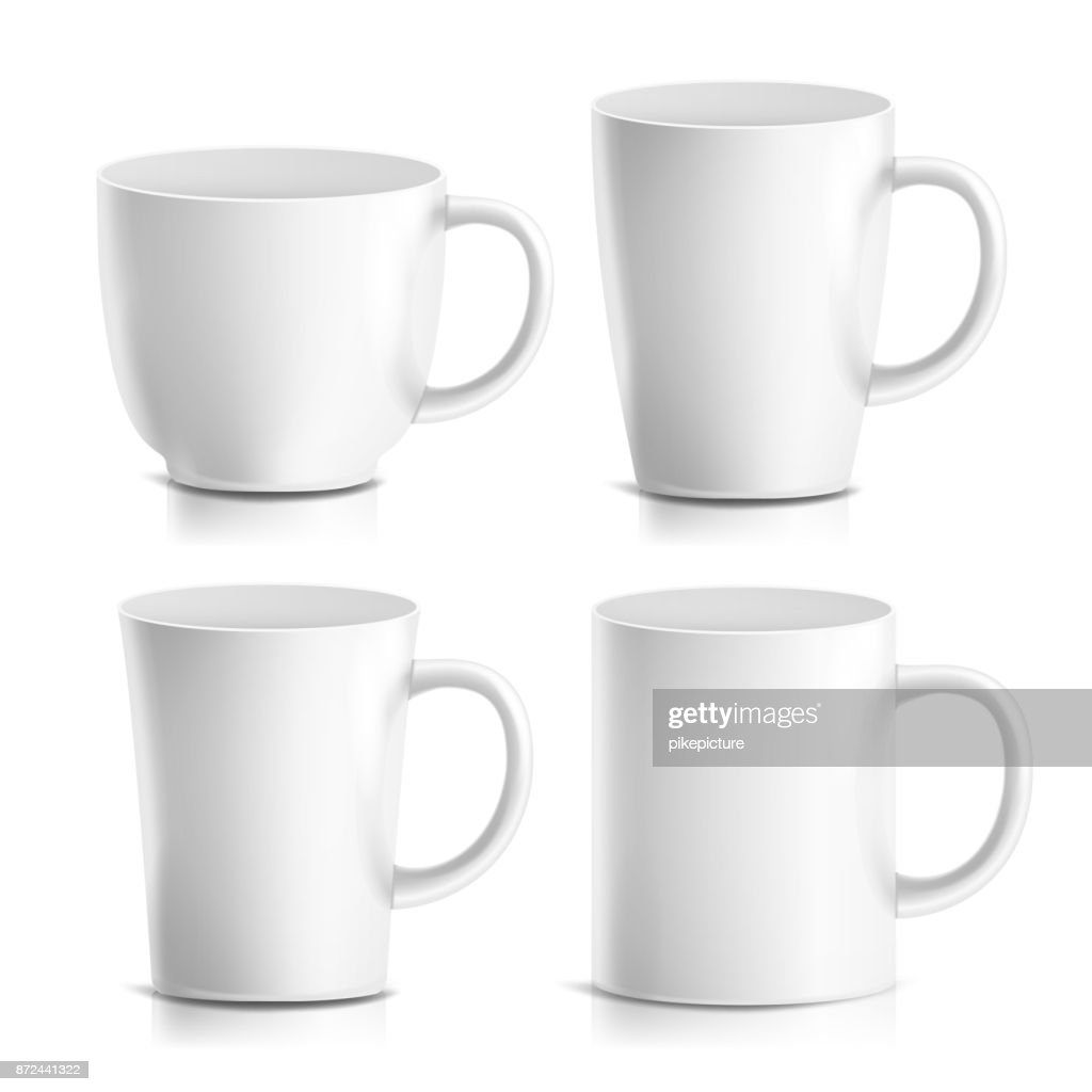 Mug Mock Up Set Vector. Realistic Ceramic Coffee, Tea Cup Isolated. Classic Cafe Cup Illustration. Good For Branding, Corporate Identity
