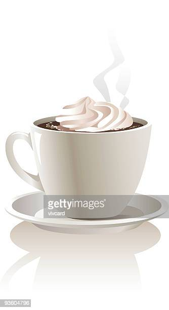 A mug of hot chocolate with a dollop of whip cream