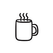 Mug of hot drink sketch icon