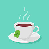 Mug With tea and steam in a flat style - vector clipart.