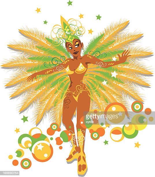 illustrazioni stock, clip art, cartoni animati e icone di tendenza di mulata samba brasiliana ballerino - samba