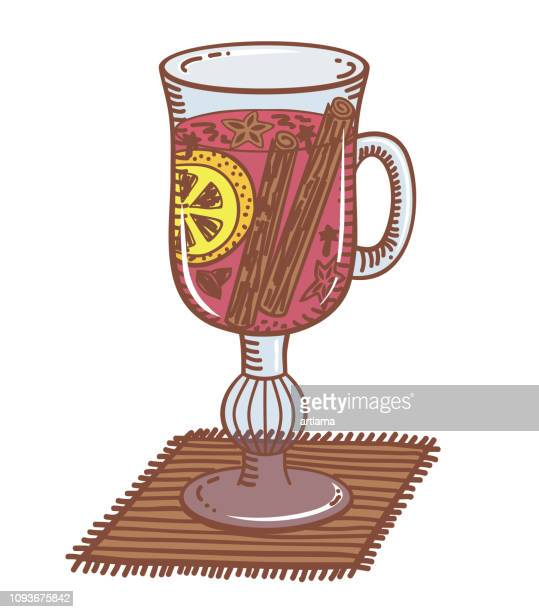mulled wine in a glass - mulled wine stock illustrations, clip art, cartoons, & icons