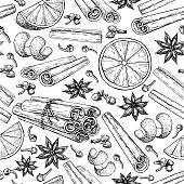 Mulled wine ingradients seamless pattern. Cinnamon stick tied bunch, anise star, orange, cloves.