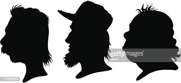 mullet silhouettes - spiked stock illustrations