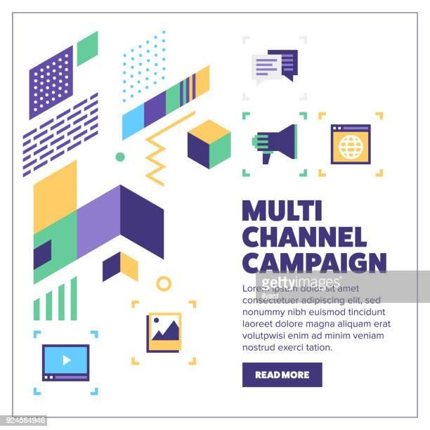 ilustrações, clipart, desenhos animados e ícones de multi-canais campanha banner - misturando