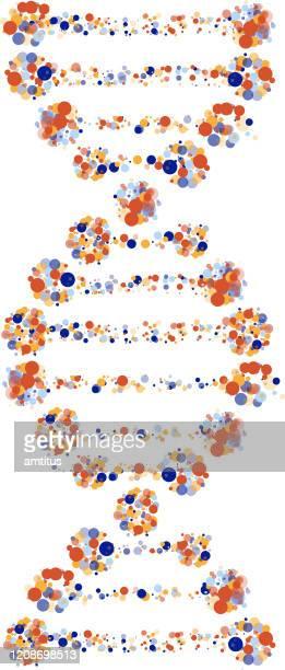 multi color dots dna - genetic mutation stock illustrations