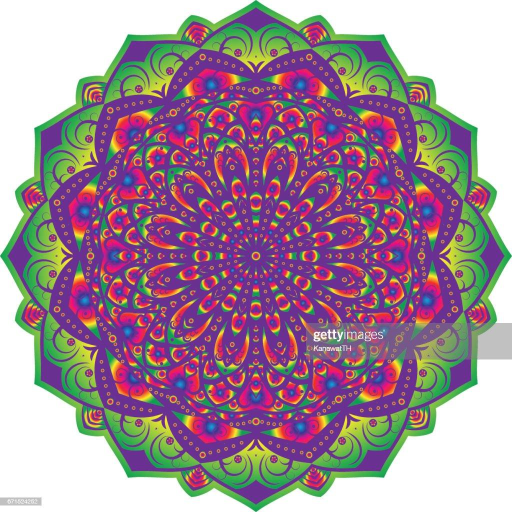 Multi Color Flower Mandala Vintage Decorative Elements Oriental Pattern Vector Illustration
