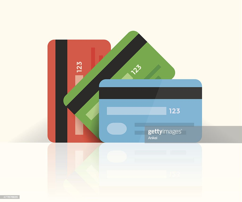 Multi colored credit cards with reflection