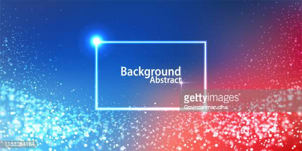 multi colored digital particles glowing - red white blue background stock illustrations