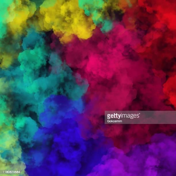黒い背景を持つ多色の霧や煙。多色ベクトル曇り、ミストやスモッグの背景。グリーティング カードとラベル、マーケティング、名刺の抽象背景のデザイン要素。 - lgbtqiプライドイベント点のイラスト素材/クリップアート素材/マンガ素材/アイコン素材