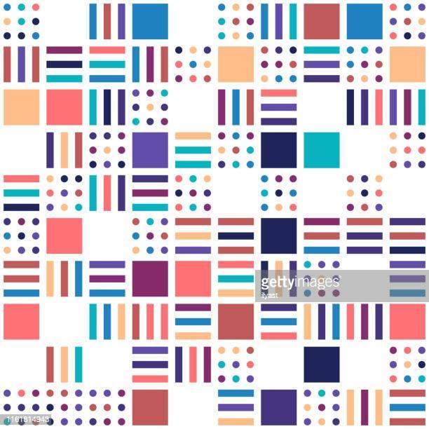 multi colored geometric grid pattern background - variation stock illustrations
