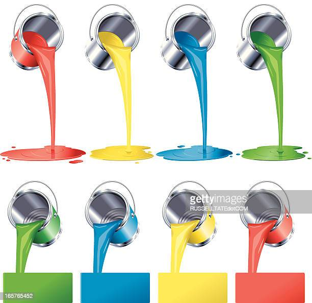 multi colored paint cans - puddle stock illustrations, clip art, cartoons, & icons