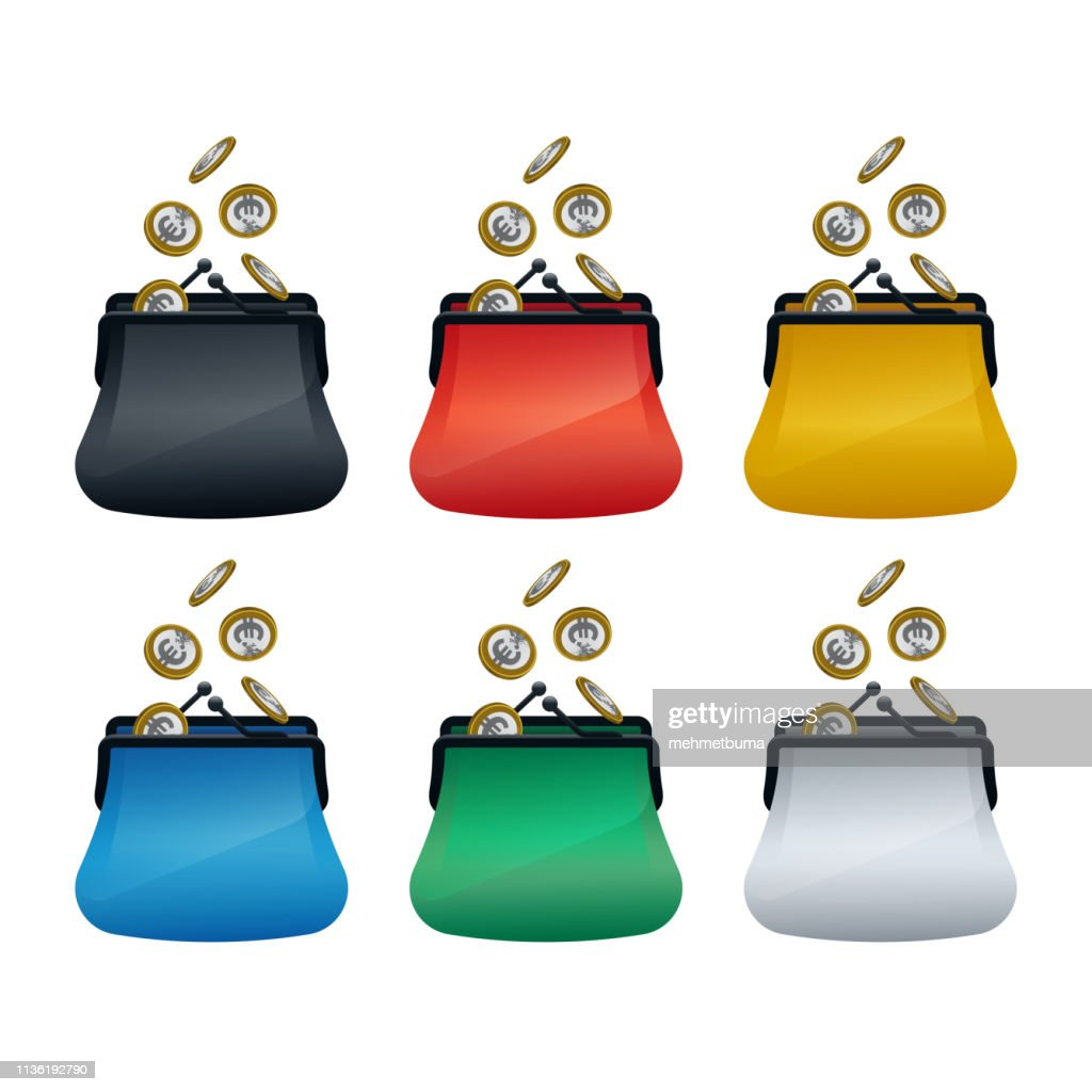 Multi colored wallet icons with euro coins