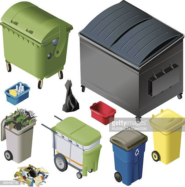 bunt abfall containern - müll stock-grafiken, -clipart, -cartoons und -symbole