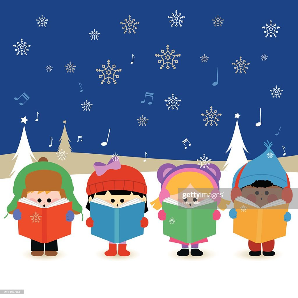 Multi Ethnic Group Of Kids Singing Christmas Carols Vector Art ...