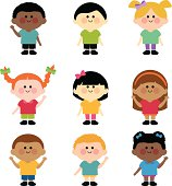 Multi ethnic group of kids
