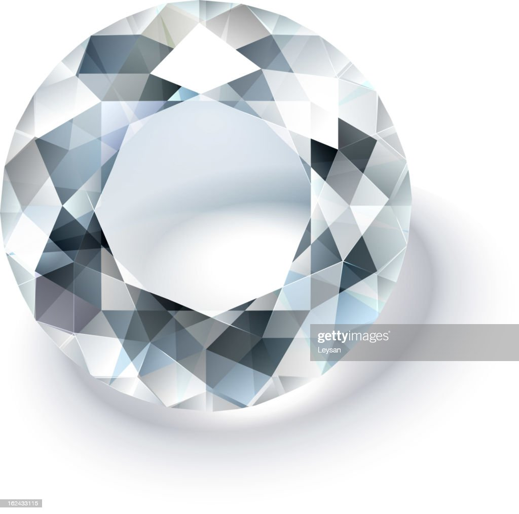 Multi faceted round cut white diamond on a white background