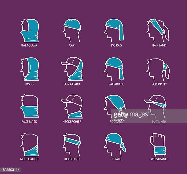 multi functional headwear scarf - balaclava stock illustrations
