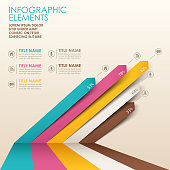 Multicolor 3D paper infographics with text