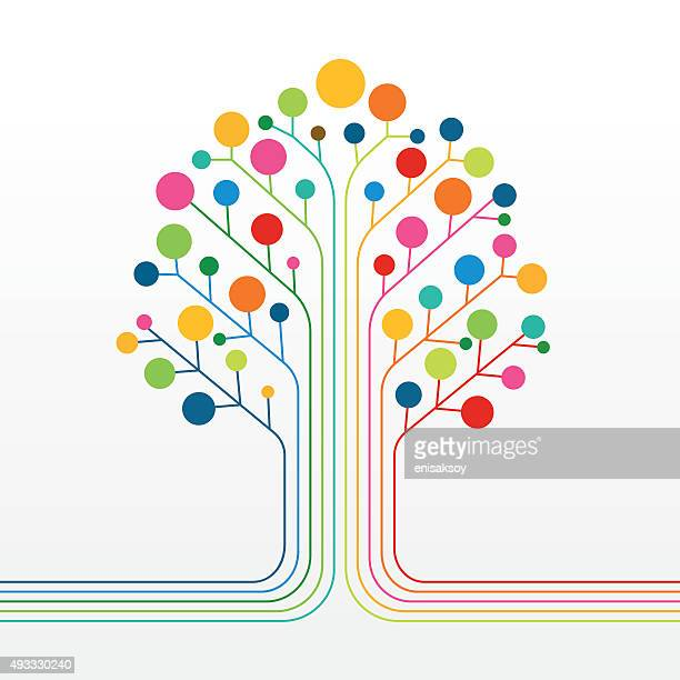 multicolor abstract tree - diagram stock illustrations