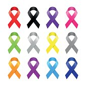 Multicolor awareness ribbon.