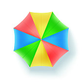 Multicolor beach umbrella, top view. Icon of open parasol isolated on white background. Vector concept 3D illustration, object of summer holidays on sunny beach, flat lay