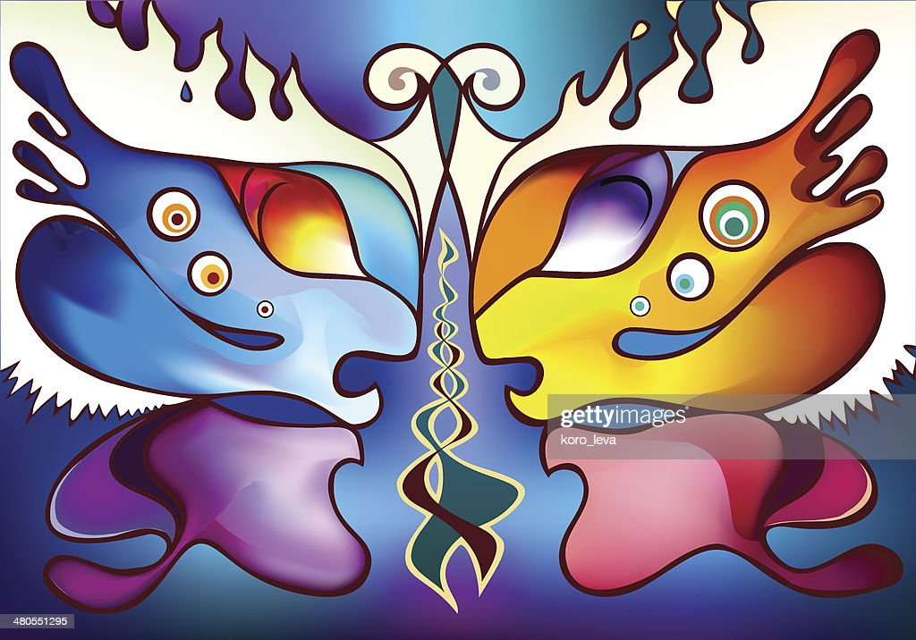 Multicolor butterfly wings as two half faces facing each other : Vector Art