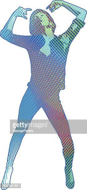 ilustraciones, imágenes clip art, dibujos animados e iconos de stock de multicolor mujer bailando - encuadre de cuerpo entero