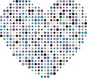 Multicolor dots heart vector illustration icon symbol. Valentine day card