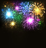 Multicolor Festive Firework Salute Burst on Black